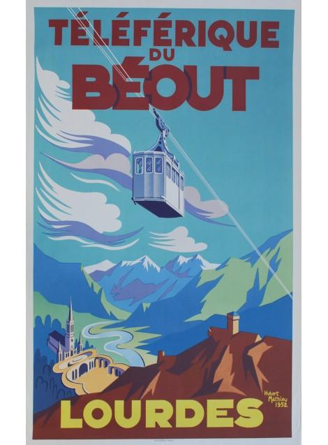 Hubert Mathieu. Lourdes. Le téléphérique du Béout. 1952.
