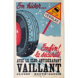Rodolphe Michaud. Avec le clou antidérapant Vaillant, Cluses. Vers 1950.
