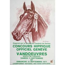 Edouard Elzingre. Concours hippique officiel Genève. Vandoeuvres. 1971.