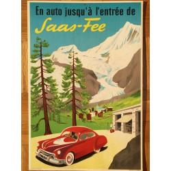 En auto jusqu'à l'entrée de Saas-Fee. Vers 1955.
