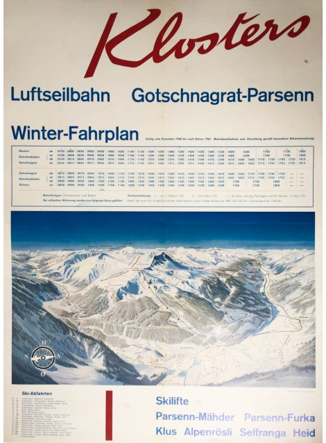 Hausamann. Klosters. Gotschnagrat - Parsenn. 1960.