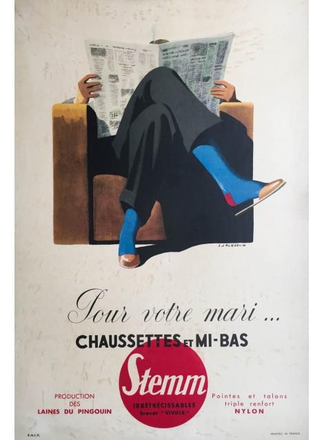 Jean Jacquelin. Chaussette Stemm. Vers 1950.