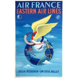 Plaquet. Air France, Eastern Air Lines. Ca 1950.