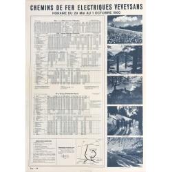 Chemins de fer veveysans. Horaire. 1960.