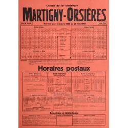 Horaire Martigny - Orsières. 1959.