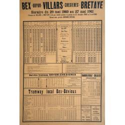 Bex - Villars - Bretaye. Horaire. 1960.