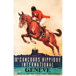 Edouard Elzingre. IXe Concours hippique international Genève. 1947.