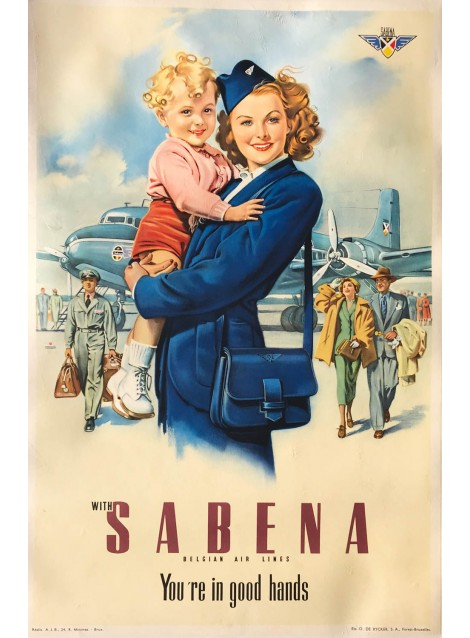 With Sabena, you're in good hands. Ca 1950.
