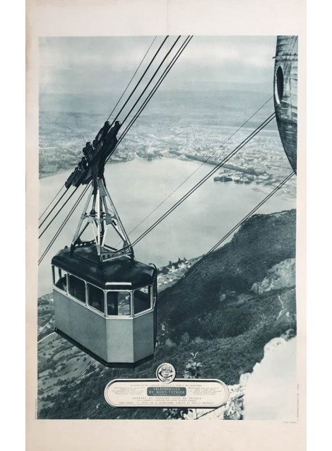 Téléphérique de Mont-Veyrier. Lac d'Annecy. Vers 1935.
