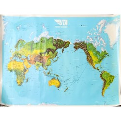 UTA. French Airlines. Carte. Map. Ca 1980.