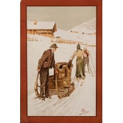 Paysan et skieurs. Carlo Pellegrini. Vers 1900.