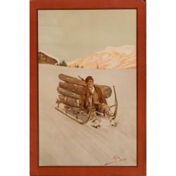 Paysan descendant du bois dans la neige. Carlo Pellegrini. Vers 1900.