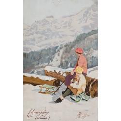 Champéry (Suisse). Carlo Pellegrini. Vers 1900.