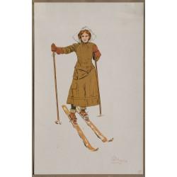 La skieuse souriante. Carlo Pellegrini. Vers 1900.