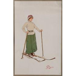 La jolie skieuse. Carlo Pellegrini. Vers 1900.