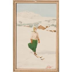 Skieuse vers un village. Carlo Pellegrini. Vers 1900.