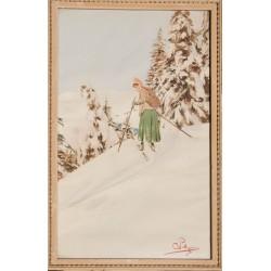 Skieuse dans la forêt. Carlo Pellegrini. Vers 1900.