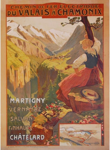 Edouard Ravel. Chemin de fer du Valais à Chamonix. 1906.