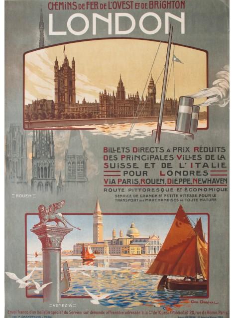 Geo Dorival. Chemins de fer de l'Ouest, London, Rouen, Venezia. 1908.