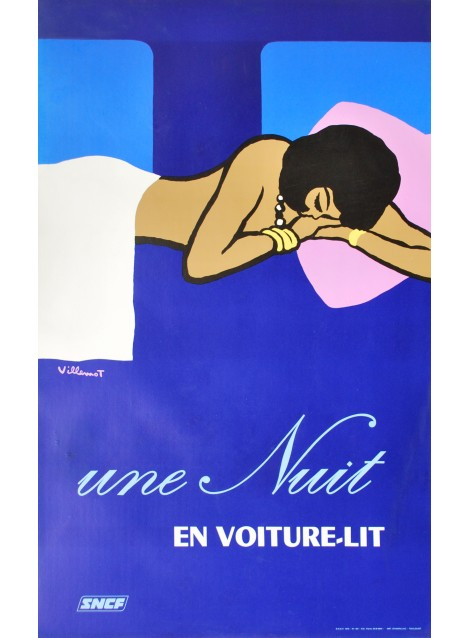 Bernard Villemot. SNCF, Une nuit en voiture-lit. 1973