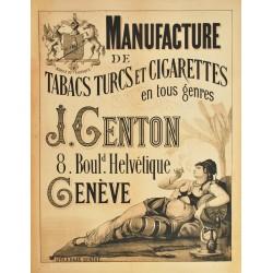 Manufacture de tabacs J. Genton, Genève. Vers 1880.