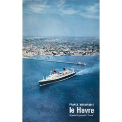 """Alain Perceval. Le Havre, Le port et le paquebot """"France"""". 1964."""