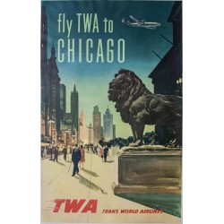 Fly TWA to Chicago. 1950