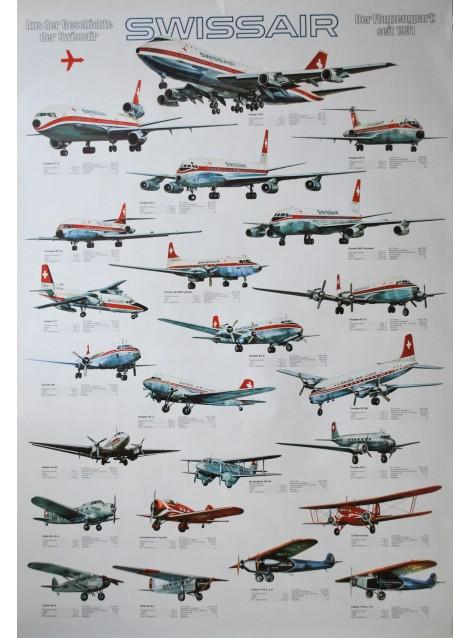 Swissair. Der Flugzeugpark seit 1931. Vers 1975.