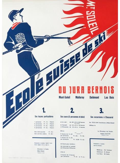 A. Guggisberg. Mont-Soleil, Ecole suisse ski. Vers 1960.