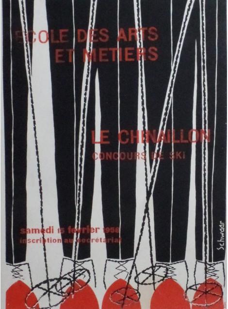 Claude Schwaar. Le Chinaillon, Concours de ski. 1958.