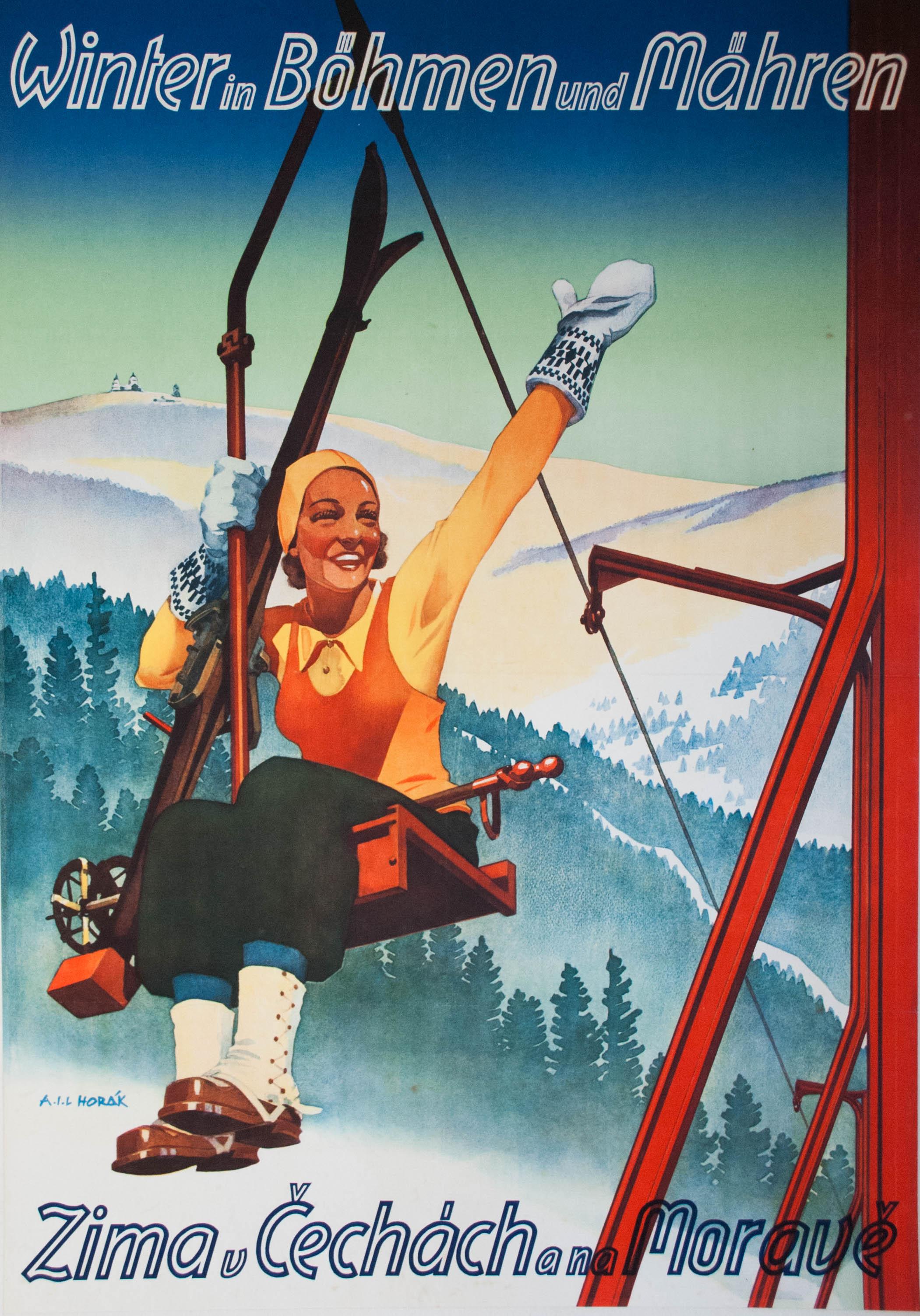 Affiche ancienne sport d'hiver